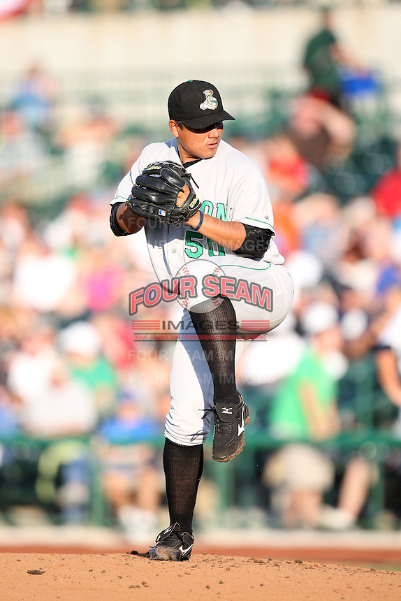 Clinton Lumber Kings Erasmo Ramirez during the Midwest League All Star Game at Parkview Field in Fort Wayne, IN. June 22, 2010. Photo By Chris Proctor/Four Seam Images