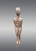 Female figurine statuette : Cycladic Canonical type, Kapsala variety. Early Cycladic Period II, (2800-2300 BC), ' Museum of Cycladic Art Athens. Grey Background.