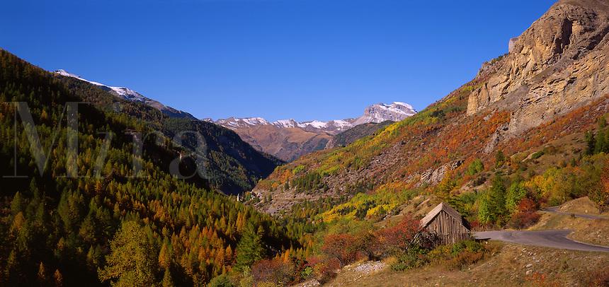 View down the Val du Bachelard towards the village of St. Laurent. Alpes de Haute Provence. France