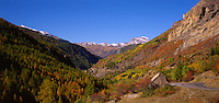 View down the Val du Bachelard towards the village of St. Laurent. Alpes de Haute Provence. France