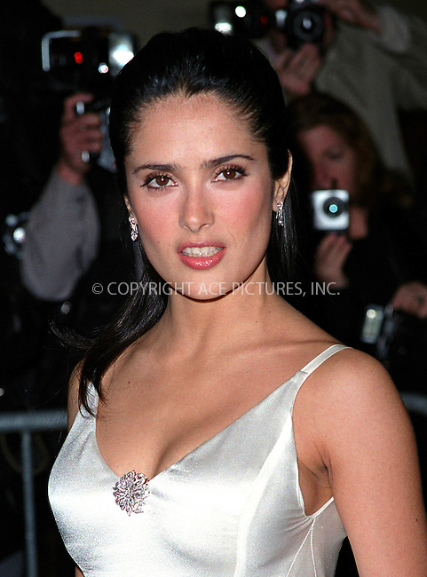 Mexican actress SALMA HAYEK (Traffic, Wild Wild West) attending the Amnesty International's 5th Annual Media Spotlight Awards at Chelsea Piers in New York. Ms. Hayek presented a special tribute to Digna Ochoa, a Mexican human rights attorney who was recently murdered for her work. January 28, 2002. © 2002 by Alecsey Boldeskul/NY Photo Press.  ONE-TIME REPRODUCTION RIGHTS.