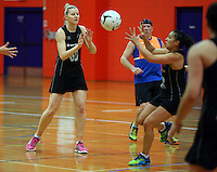 30.10.2014 Silver Ferns Katrina Grant in action during training ahead of the second test match in Palmerston North. Mandatory Photo Credit ©Michael Bradley.