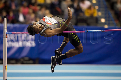 February 18th 2017,  Birmingham, Midlands, England; IAAF The Müller Indoor Grand Prix Athletics meeting; Donald Thomas (BAH) competing in the final of the Men's High Jump