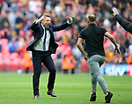 Millwall's Neil Harris tells the fans to get off the pitch during the League One Play-Off Final match at Wembley Stadium, London. Picture date: May 20th, 2017. Pic credit should read: David Klein/Sportimage