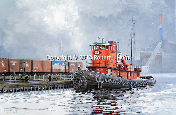 "A tugboat of the Lehigh Valley Railroad waiting for orders in the East River with New York City and Manhattan in the background, circa 1952. ""Hazleton on the East River"", oil on canvas, 18"" x 27""."