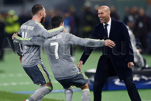 17.02.2016. Stadio Olimpico, Rome, Italy. UEFA Champions League, Round of 16 - first leg, AS Roma versus Real Madrid.  Cristiano Ronaldo celebrates his long-range goal with boss Zidane