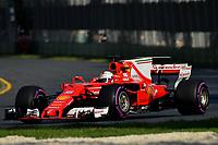 March 26, 2017: Sebastian Vettel (DEU) #5 from the Scuderia Ferrari team rounds turn three at the 2017 Australian Formula One Grand Prix at Albert Park, Melbourne, Australia. Photo Sydney Low