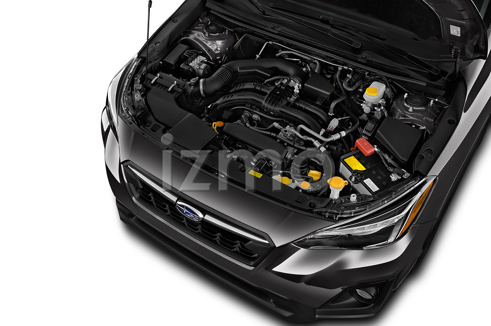 Car stock 2018 Subaru Crosstrek Limited CVT 5 Door SUV engine high angle detail view