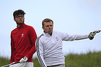 Harry Goddard (Hanbury Manor) and Ben Hutchinson (Howley Hall) on the 3rd tee during Round 3 of the Lytham Trophy, held at Royal Lytham & St. Anne's, Lytham, Lancashire, England. 05/05/19<br /> <br /> Picture: Thos Caffrey / Golffile<br /> <br /> All photos usage must carry mandatory copyright credit (© Golffile | Thos Caffrey)