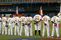 March 7, 2009:  Francisco Rodriguez, Cesar Izturis, Jose Lopez, Carlos Guillen, Magglio Ordonez, Miguel Cabrera, Bobby Abrea, and Melvin Mora of Venezuela during the first round of the World Baseball Classic at the Rogers Centre in Toronto, Ontario, Canada.  Venezuela lost to Team USA 15-6 in both teams second game of the tournament.  Photo by:  Mike Janes/Four Seam Images
