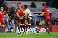 Sam Burgess of England offloads to Owen Farrell of England during Match 1 of the Rugby World Cup 2015 between England and Fiji - 18/09/2015 - Twickenham Stadium, London <br /> Mandatory Credit: Rob Munro/Stewart Communications