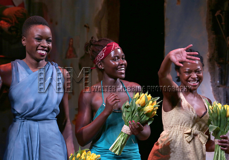 Danai Gurira, Lupita Nyong'o, Pascale Armand onstage during the 'Eclipsed' broadway opening night curtain call at The Golden Theatre on March 6, 2016 in New York City.
