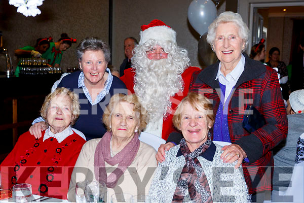 Santa with Front row l-r: Bridie riordan, Mary Spillane, Mary Conway, back Catherine Crowe and Nora Kelly  at the Muckross Christmas party in the Killarney Oaks Hotel on Sunday