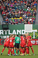 Portland, OR - Saturday, May 21, 2016: The Portland Thorns FC huddle. The Portland Thorns FC defeated the Washington Spirit 4-1 during a regular season National Women's Soccer League (NWSL) match at Providence Park.