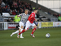 Derek Carcary gets the better of Gary Teale in the St Mirren v Brechin City William Hill Scottish Cup Round 4 match played at St Mirren Park, Paisley on 1.12.12..