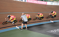 CALI – COLOMBIA – 17-02-2017: Equipo de España en la prueba Persecucion por equipos Varones en el Velodromo Alcides Nieto Patiño, sede de la III Valida de la Copa Mundo UCI de Pista de Cali 2017. / Spain Team in the Men Team Pursuit Race at the Alcides Nieto Patiño Velodrome, home of the III Valid of the World Cup UCI de Cali Track 2017. Photo: VizzorImage / Luis Ramirez / Staff.
