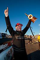 Nov 3, 2019; Las Vegas, NV, USA; NHRA top alcohol funny car driver Sean Bellemeur celebrates after winning the Dodge Nationals at The Strip at Las Vegas Motor Speedway. Mandatory Credit: Mark J. Rebilas-USA TODAY Sports