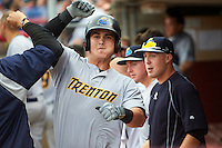 Trenton Thunder first baseman Tyler Austin (17) celebrates a home run during a game against the Binghamton Mets on May 29, 2016 at NYSEG Stadium in Binghamton, New York.  Trenton defeated Binghamton 2-0.  (Mike Janes/Four Seam Images)