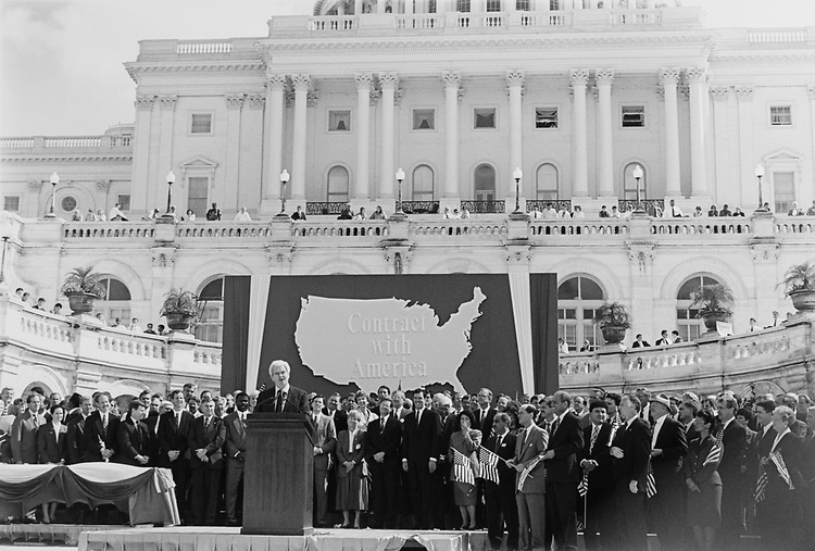 House Majority Whip Rep. Newt Gingrich, R-Ga., addresses the crowd at Contract with America celebration rally on Sep. 27, 1994. (Photo by Chris Martin/CQ Roll Call via Getty Images)