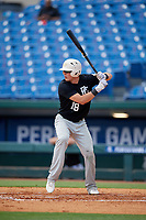 Michael Bello (18) of Pope John XXIII High School in Oak Ridge, NJ during the Perfect Game National Showcase at Hoover Metropolitan Stadium on June 17, 2020 in Hoover, Alabama. (Mike Janes/Four Seam Images)