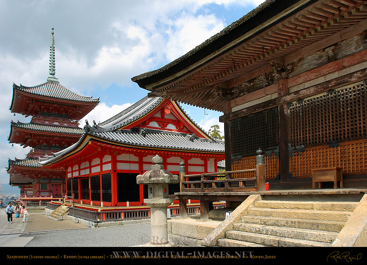 Sanjunoto 3-story Pagoda, Kyodo Sutra Library, Tamurado Founder's Hall, Kiyomizudera Clear Water Temple, Kyoto, Japan