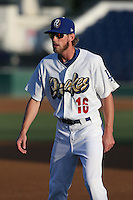 Kyle Hudson (16) of the Rancho Cucamonga Quakes warms up before a game against the High Desert Mavericks at LoanMart Field on August 3, 2015 in Rancho Cucamonga, California. Rancho Cucamonga defeated High Desert, 2-1. (Larry Goren/Four Seam Images)