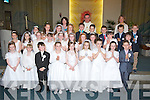 2nd class pupils of Gaeilscoil Mhic Easmainn with their teachers Treasa Ui? Raghall and Ca?it Ui? Chonchu?ir (principal) and Fr Francis Nolan after they made their first holy communion in St Brendan's Church, Tralee on Saturday.2nd class, Heather Nic Conmara, Sile Ni? Loingsigh, Ai?lbhe Ni? Dhalaigh, Aisling Ni? Ai?nife?i?n, Vivienne Ni? Dhuinin, Sorcha Ni? Luasaigh, Sydney Nic Gearailt, Aoife Ni? Shu?illeabhain, Ca?it Nic Aoga?in, Emma Dewey, Simaria Ni? Bhriain, Cheyenne Tanu?r, Isult Ni? Chathasai?gh, Rebecca Ni? Mhuircheartaigh, Arran O? Dulcha Shu?illeabha?inointigh, Peadar Breathnach, Finn O? hE?alai, Joshua De Ro?iste, Graham Mac Sithigh, Daniel Mac Gearailt, Joe De Ri?s, Ciara De Rath, Lu?sai Ni? Mhurchu?, Eimer Ni? Shu?illeabha?in, Ella Nic Gabhann,Molly Ni? Bhrosnacha?in agus Saoirse Ni? Mhaoldomhnaigh...