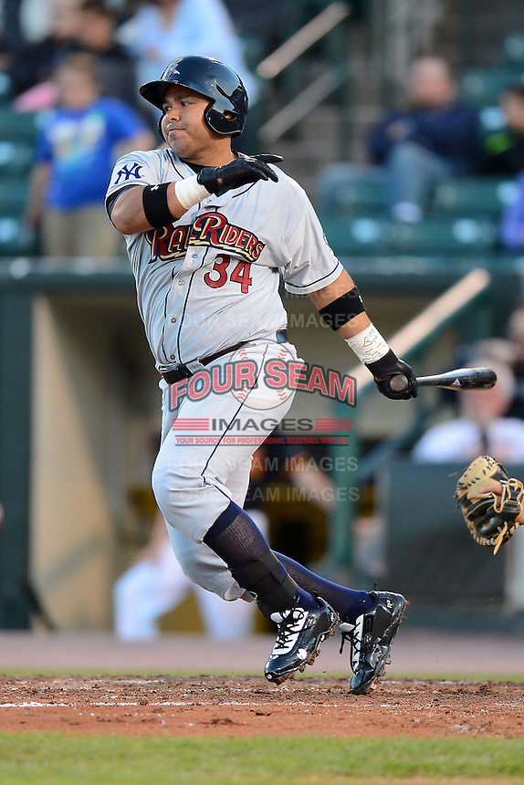 Scranton Wilkes-Barre RailRiders designated hitter Randy Ruiz #34 during a game against the Rochester Red Wings on June 19, 2013 at Frontier Field in Rochester, New York.  Scranton defeated Rochester 10-7.  (Mike Janes/Four Seam Images)