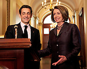 Washington, D.C. - March 30, 2010 -- President Nicolas Sarkozy of France, and the Speaker of the United States House of Representatives Nancy Pelosi (Democrat of California) make statements as he arrives for a visit in the U.S. Capitol on Tuesday, March 30, 2010..Credit: Ron Sachs / CNPWashington, D.C. - March 30, 2010 -- President Nicolas Sarkozy of France visits the Speaker of the United States House of Representatives Nancy Pelosi (Democrat of California) in the U.S. Capitol on Tuesday, March 30, 2010..Credit: Ron Sachs / CNP