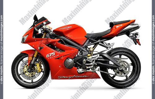Red 2008 Triumph Daytona 675 Triple supersport motorcycle isolated with clipping path on white background