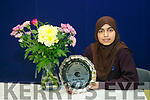 The Student of the Year award winner, Areej Saghir, at the Coláiste Gleann Lí awards on Friday afternoon