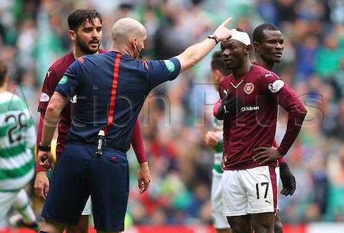02.04.2016. Celtic Park, Glasgow, Scotland. Scottish Football Premiership Celtic versus Hearts. Juwon Oshaniwa is ordered off the park