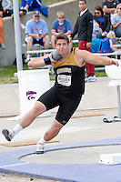 Brooks Mosier,a Missouri junior, prepares to throw the shot at the Big 12 Outdoor Track and Field Championships at Kansas State University in Manhattan, Ks. Saturday. Mosier placed 6th with a season best mark of 56-11.25.