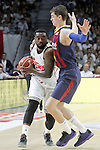 Real Madrid's K.C. Rivers (l) and FC Barcelona's Mario Hezonja during Liga Endesa ACB 2nd Final Match.June 21,2015. (ALTERPHOTOS/Acero)
