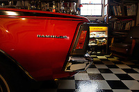 Reinholds, Pennsylvania, February 10, 2015 - Details of Brian Moyer's 1970 AMi (Australian Motor Industries) Gremlin in one of his garages. This one-of-a-kind car is the only one produced by AMI - used to sell the Gremlin to the Australian market it never took off due, Moyer says, to the limited space of the second row. He is still in the process of fully restoring it. Starting in 1960, AMI began assembling a braod range of AMC cars in the hopes of avoiding  high tarriff, all with right hand drive and the Rambler logo, even though the Rambler logo had long since been dropped in the US Market. <br /> <br /> Moyer owns 16 AMC Gremlins. The Gremlin was introduced on April Fools Day (April 1) in 1970 featuring a shortened Hornet body with a Kammback tail and was manufactured in the US via AMC and in Mexico via AMC's subsidiary VAM. It's lifecycle ended in 1978 when it was replaced by the AMC Spirit. Moyer became interested as a kid when he saw the early Gremlin commercials in 1970. His first car was a Gremlin and he has never not owned one. Today he has arguably the most unique collection of Gremlins in the world, including several that are one-of-a kind models. <br /> <br /> CREDIT: Daryl Peveto for The Wall Street Journal<br /> Photo Assignment ID: 36892 <br /> Slug: MYRIDE_Gremlin