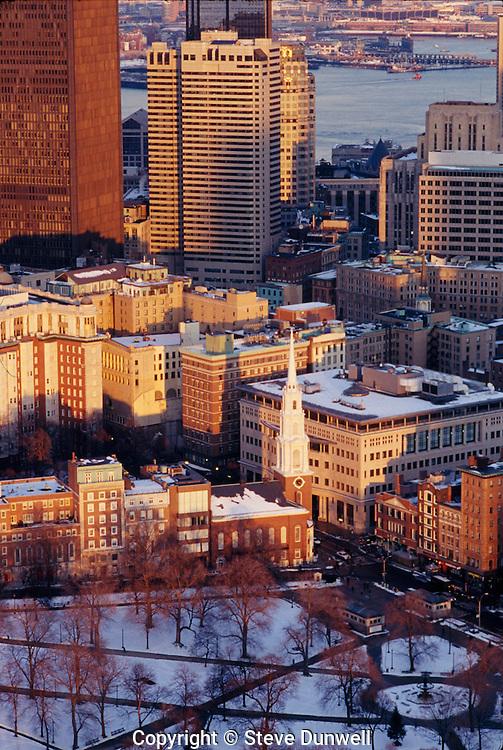 Aerial winter Park Street Church, Boston, MA