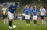 Rangers fans playfully boo captain Lee McCulloch for taking the spot kick instead of Kris Boyd who watches on