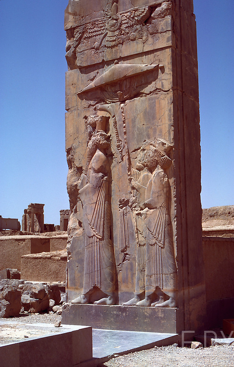 Bas-relief with King Darius, persian achaemenid emperor from IVth century BC. Persepolis, Fars province, Iran.<br /> Picture taken circa 1976