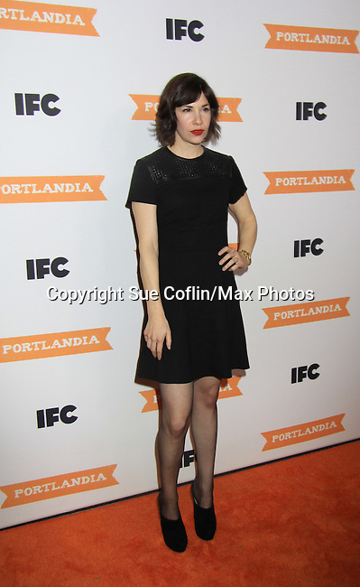 Carrie Brownstein - IFC comedy series Portlandia Season 3 New York Premiere Event on November 10, 2012 at American Museum of Natural History, New York City, New York. It is created, written by and stars Fred Armisen and Carrie Brownstein with executive producer Lorne Michaels. General Hospital Amber Tamblyn is in the production and poses with husband David Cross. (Photo by Sue Coflin/Max Photos)