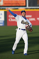 Jeren Kendall (24) of the Rancho Cucamonga Quakes throws before a game against the Lancaster JetHawks at LoanMart Field on June 4, 2019 in Rancho Cucamonga, California. (Larry Goren/Four Seam Images)