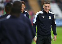 Jamie Vardy of Leicester City warms up before the Barclays Premier League match between Swansea City and Leicester City played at The Liberty Stadium on 5th December 2015