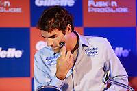 ATENÇÃO EDITOR: FOTO EMBARGADA PARA VEÍCULOS INTERNACIONAIS. SAO PAULO, SP, 06 DE DEZEMBRO DE 2012. APRESENTAÇÃO DO TORNEIO GILLETTE FEDERER TOUR.  o tenista Roger Federer faz a barba durante a apresentação do novo torneio Gillette Federer Tour,  na manhã desta quinta feira na zona sul da capital paulista. O Gillette Federer aTour reunirá, durante quatro dias, o melhor do tênis mundial, no Ginásio do Ibirapuera, de 6 a 9 de dezembro, com a participação de grandes estrelas como Roger Federer, Tommy Haas, Thomaz Bellucci, Jo-Wilfried Tsonga, Tommy Robredo, Victoria Azarenka, Maria Sharapova, Serena Williams, Caroline Wozniacki, Bob e Mike Bryan e Marcelo Melo e Bruno Soares.  FOTO ADRIANA SPACA - BRAZIL PHOTO PRESS