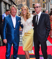 Rick Parfitt, Laura Aikman, Francis Rossi <br /> The &quot;Bula Quo!&quot; UK film premiere, Odeon West End cinema, Leicester Square, London, England.<br /> July 1st, 2013<br /> full length white lace top yellow silk satin skirt blue black suit tinted glasses half 3/4 <br /> CAP/BF<br /> &copy;Bob Fidgeon/Capital Pictures