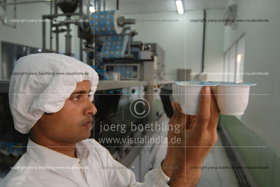 "Asien Suedasien Bangladesh Bogra , Danone Produktion des Joghurt Shakti Doi , angereichert mit Vitamine und Mineralstoffen , aus Milch von Kleinbauern, die von Grameenbank Mikrokredite fuer die Milchviehhaltung erhalten haben  -  Landwirtschaft Mikrofinanzierung Nahrungsmittel Milch xagndaz | .South asia Bangladesh Bogra , project between Danone and Grameen bank , Danone produce yoghurt with vitamine from milk supplied by small farmer who received micro-credit from Grameen Shakti - microfinance agriculture nutrition food .| [ copyright (c) Joerg Boethling / agenda , Veroeffentlichung nur gegen Honorar und Belegexemplar an / publication only with royalties and copy to:  agenda PG   Rothestr. 66   Germany D-22765 Hamburg   ph. ++49 40 391 907 14   e-mail: boethling@agenda-fototext.de   www.agenda-fototext.de   Bank: Hamburger Sparkasse  BLZ 200 505 50  Kto. 1281 120 178   IBAN: DE96 2005 0550 1281 1201 78   BIC: ""HASPDEHH"" ,  WEITERE MOTIVE ZU DIESEM THEMA SIND VORHANDEN!! MORE PICTURES ON THIS SUBJECT AVAILABLE!!  ] [#0,26,121#]"