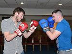 Sean Callan and Cillian O'Neill pictured at the launch of St Mary's GFC white collar boxing. Photo:Colin Bell/pressphotos.ie