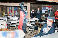 Satirical presidential candidate Vermin Supreme speaks at Ten Rod Farm in Rochester, New Hampshire. Supreme's platform advocates a pony-based economy, using zombies to solve the energy crisis, and other outlandish ideas. Supreme has been on the New Hampshire primary ballot in 2008 and 2012, though he has began running for president in 1992. Vermin Supreme will be on the Democratic party ballot in the 2016 New Hampshire primary.