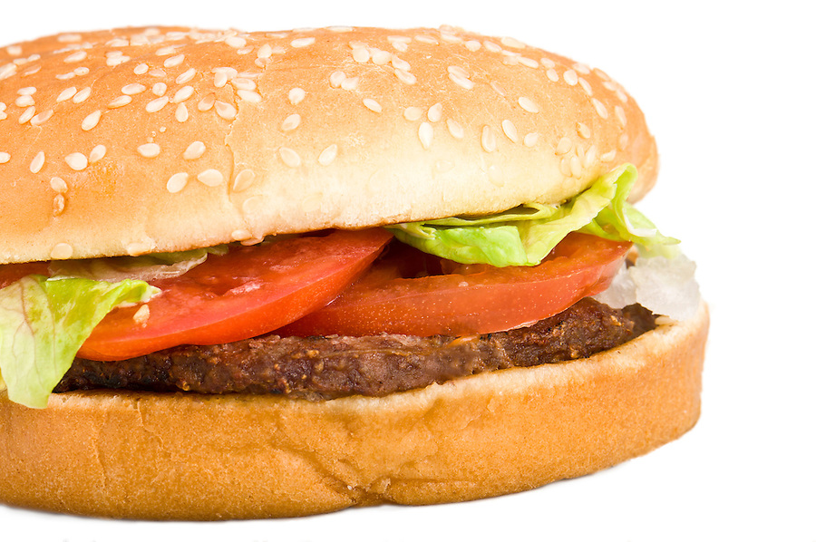 Tasty hamburger isolated in white close up.