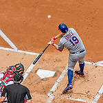 30 April 2017: New York Mets outfielder Jay Bruce hits an RBI single in the first inning against the Washington Nationals at Nationals Park in Washington, DC. The Nationals defeated the Mets 23-5 in the third game of their weekend series. Mandatory Credit: Ed Wolfstein Photo *** RAW (NEF) Image File Available ***
