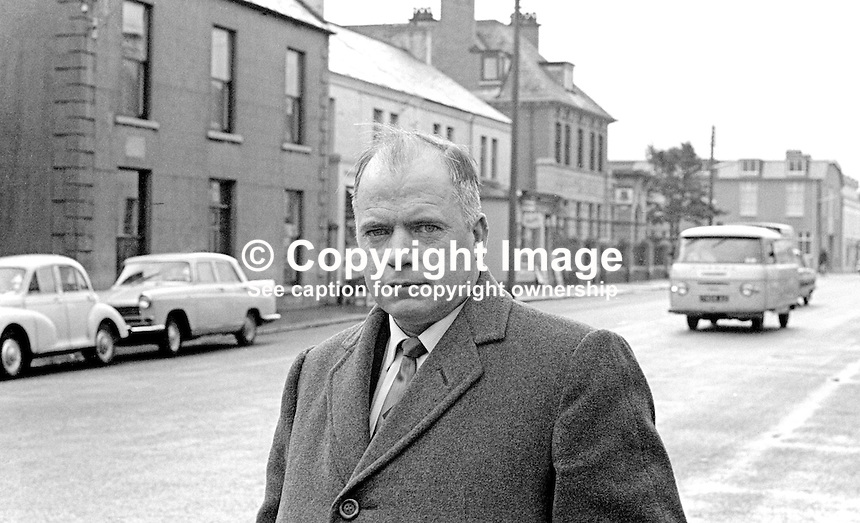 James O'Reilly, aka Seamus O'Reilly, Nationalist Party, MP, N Ireland Parliament, Stormont, Belfast, photographed in his constituency. 196510000009a<br />