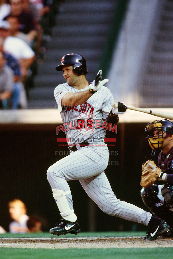 Terry Steinbach of the Minnesota Twins during a game against the Anaheim Angels at Angel Stadium circa 1999 in Anaheim, California. (Larry Goren/Four Seam Images)